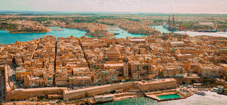 Valetta, Malta, seen from the sky